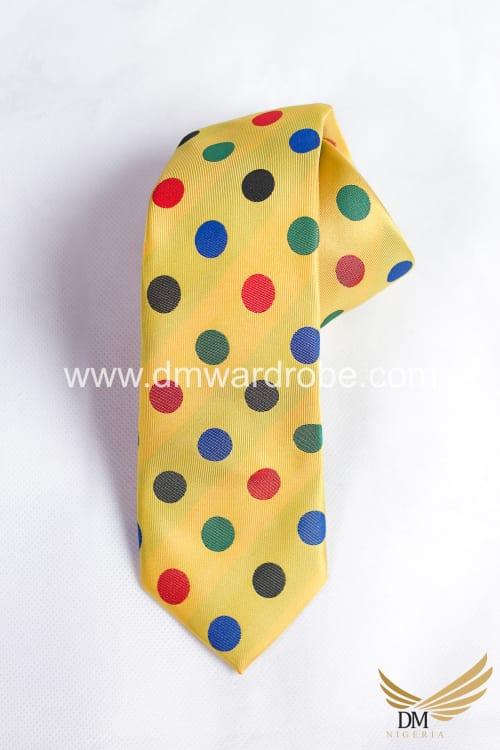 Yellow Mixed Color Polka Dot Tie