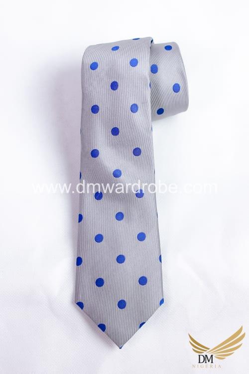 Grey Blue Polka Dot Tie