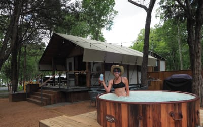 Stay in a cabin, a safari tent or an Airstream trailer at North Shore Park at Lake Bastrop