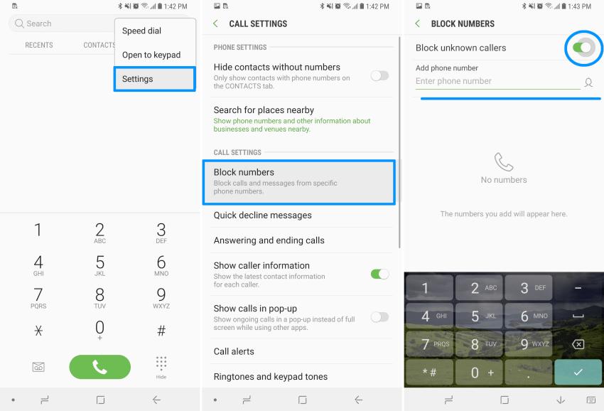 block nomor tidak diketahui samsung s9
