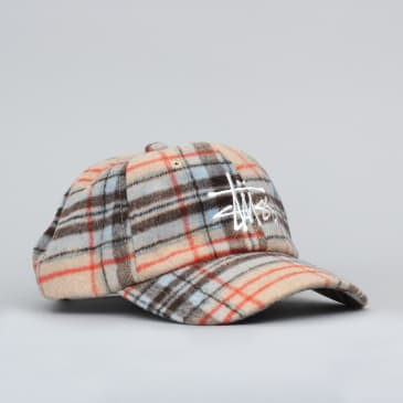 Stussy Big Logo Plaid Low Pro Cap Camel