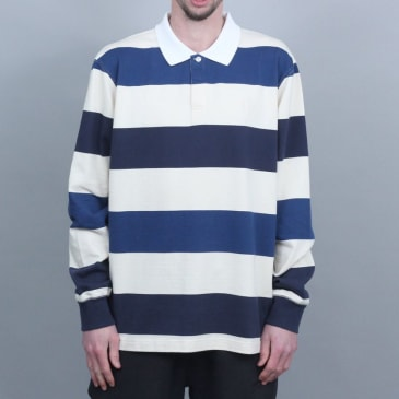 Polar 93 Stripe Rugby Longsleeve Shirt Dark Navy / Navy / Cream
