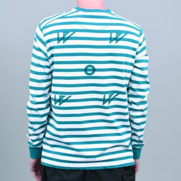 Pop X Wayward WOW Longsleeve T-Shirt Ocean Green / Off White