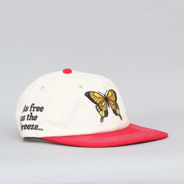 Butter Goods Butterfly 6 Panel Cap Bone / Red