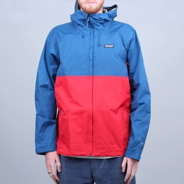 Patagonia Torrentshell Jacket Big Sur Blue W / Fire Red