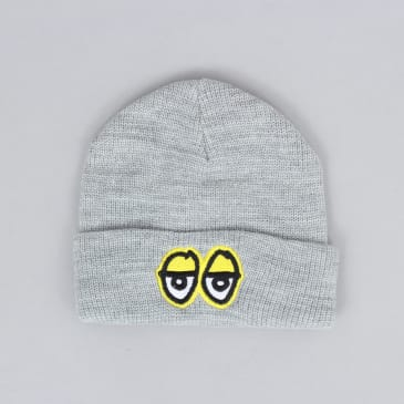 Krooked Eyes Embroidered Cuff Beanie Athletic Heather / Yellow