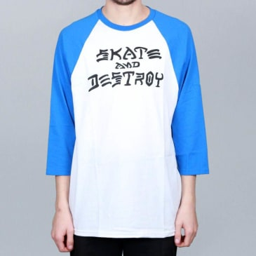 Thrasher Skate & Destroy Raglan T-Shirt White / Blue