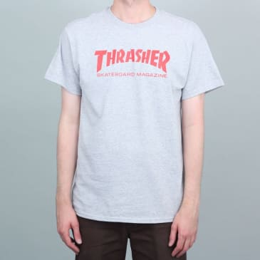 Thrasher Mag Logo T-Shirt Heather Grey / Red