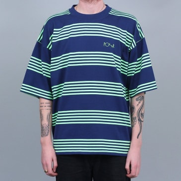 Polar Striped Surf T-Shirt Dark Blue / Gecko Green