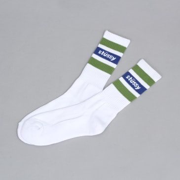 Stussy Stripe Crew Socks White / Green