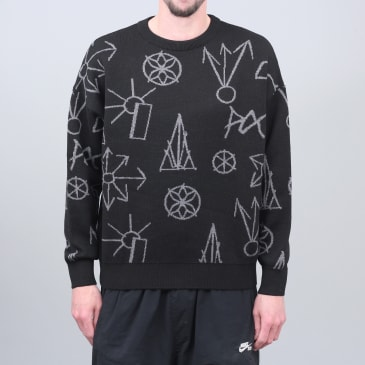 Paccbet Graphic Jacquard Knit Sweater Black