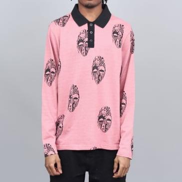 Stussy Mask Longsleeve Polo Shirt Pink