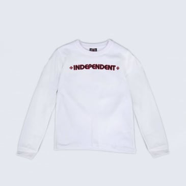 Independent Bar Cross Youth Longsleeve T-Shirt White