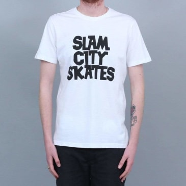 Slam City Skates Classic logo T-Shirt White / Black