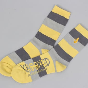 Krooked Shmolo Stripes Embroidered Socks Yellow / Grey
