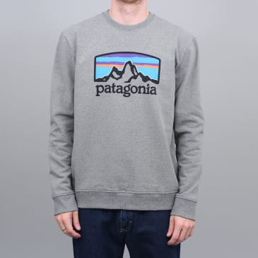 Patagonia Fitz Roy Horizons Uprisal Crew Sweatshirt Gravel Heather