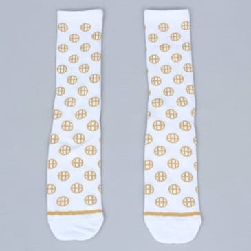 HUF Circle H Crew Socks White
