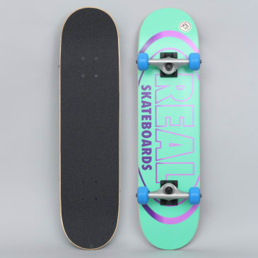 Real 7.3 Team Oval Gleams Mini Complete Skateboard Turquoise