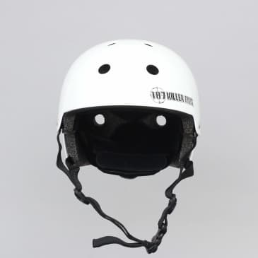187 Killer Pads Certified Youth Helmet With Adjuster Gloss White