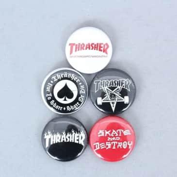 Thrasher Logo Button Badges 5 Pk