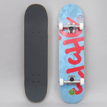 Cliche 7.375 Handwritten Youth FP Complete Skateboard Blue / Red