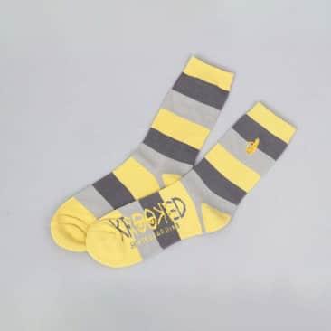 Krooked Shmolo Stripes Embroidered Socks Yellow / Grey