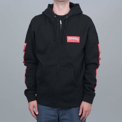 Thrasher Boxed Logo Zip Hood Black