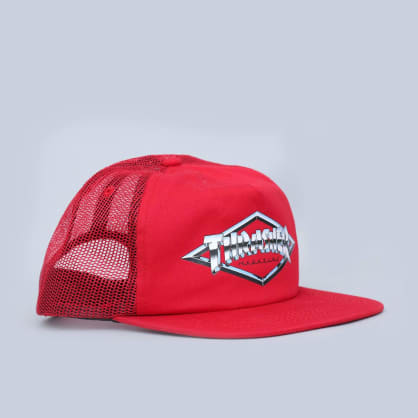 Thrasher Diamond Emblem Trucker Cap Red