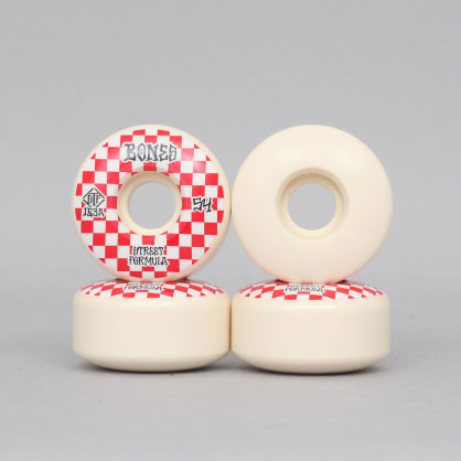 Bones 54mm 103A Patterns STF V3 Slims Skateboard Wheels White / Red