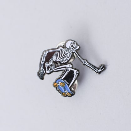 Powell Peralta Skateboard Skeleton Lapel Pin Badge