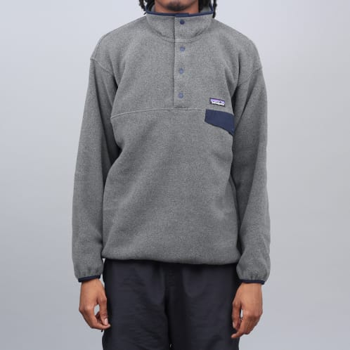 Patagonia Synchilla Snap T Fleece Pullover Nickel W / Navy Blue