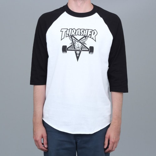 Thrasher Skategoat Raglan T-Shirt White / Black