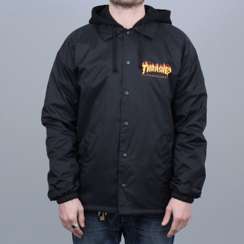 Thrasher Flame Logo Coach Jacket Black
