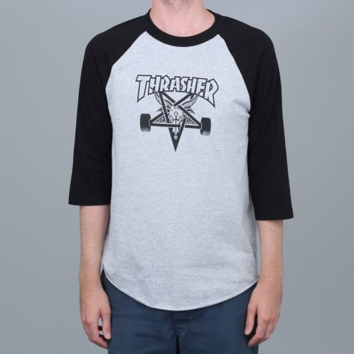 Thrasher Skategoat Raglan T-Shirt Heather / Black