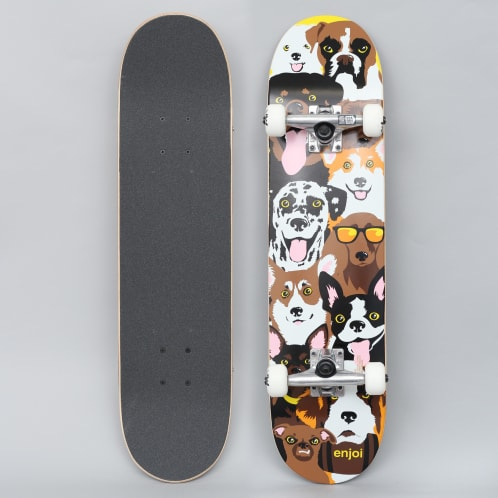 Enjoi 7.375 Dog Collage Youth Complete Skateboard Yellow
