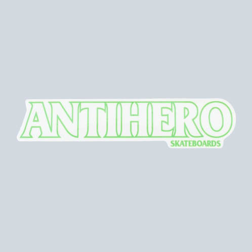 Anti Hero Long Black Hero Sticker Green Outline