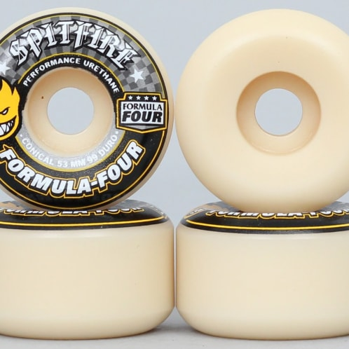 Spitfire 53mm 99DU Formula Four Conical Wheels Natural / Yellow Print