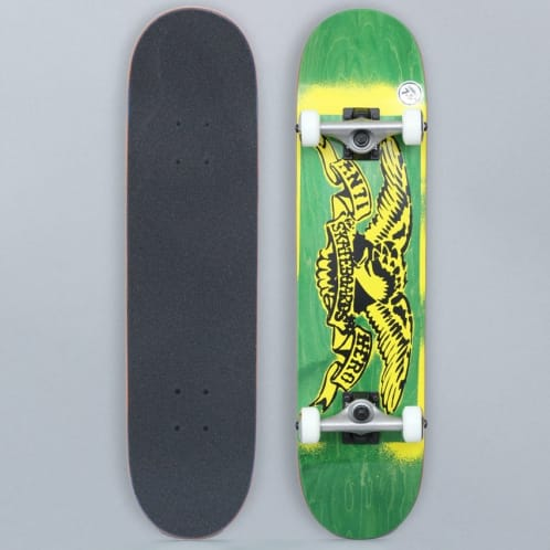 Anti Hero 7.5 Stencil Eagle Small Complete Skateboard Green / Yellow