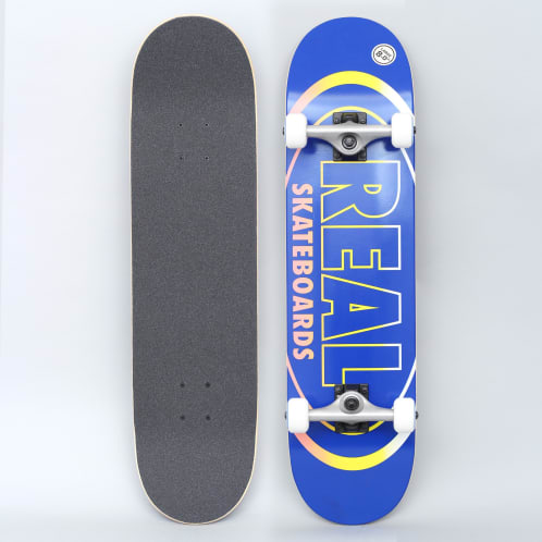 Real 8 Team Oval Gleams Large Complete Skateboard Blue