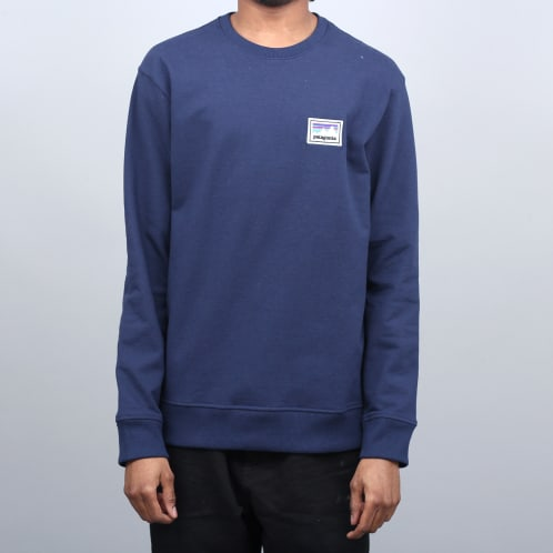 Patagonia Shop Sticker Patch Uprisal Crew Sweatshirt Classic Navy