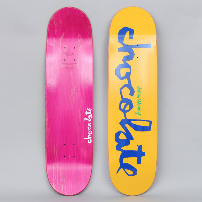 Chocolate 8.25 Justin Eldridge Original Chunk Skateboard Deck Yellow / Blue