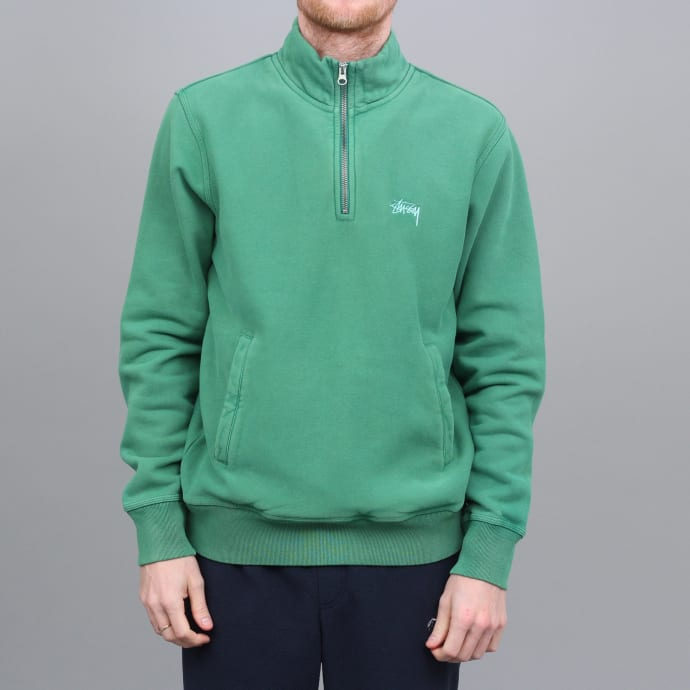 Stussy Stock Fleece Mock Green