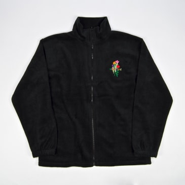 Welcome Skate Store - Rose Embroidered Zip Fleece - Black