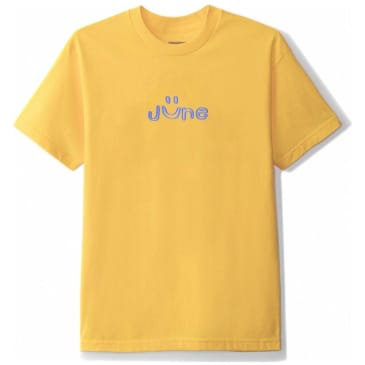 June Store Smile Puff Print T-Shirt - Yellow / Blue