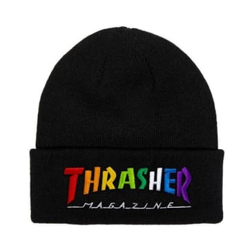 THRASHER Rainbow Mag Beanie Black
