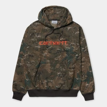 Carhartt WIP Hooded Carhartt Sweatshirt Camo - Safety Orange