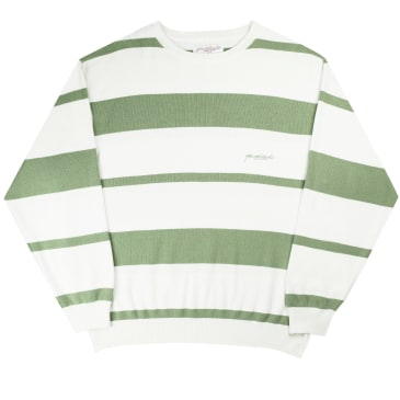 Yardsale Val Knit Crewneck - Fern / White / Offwhite