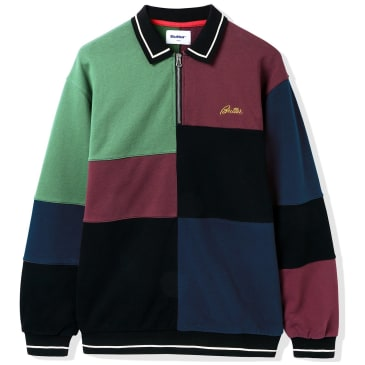 Butter Goods Patchwork Pullover 1/4 Zip Sweatshirt - Wine / Midnight / Sage