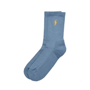 Polar Skate Co. No Comply Socks - Slate Blue-Yellow