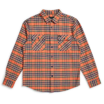 Brixton Bowery L/S Flannel - Salmon/Navy